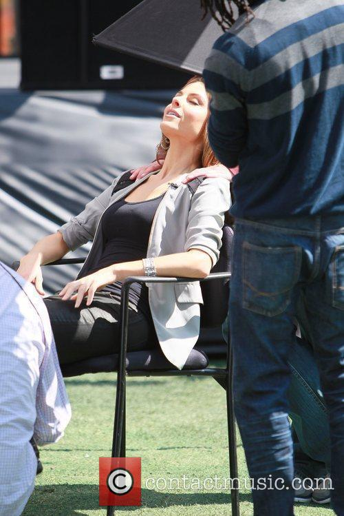 Maria Menounos gets pampered by the crew of...