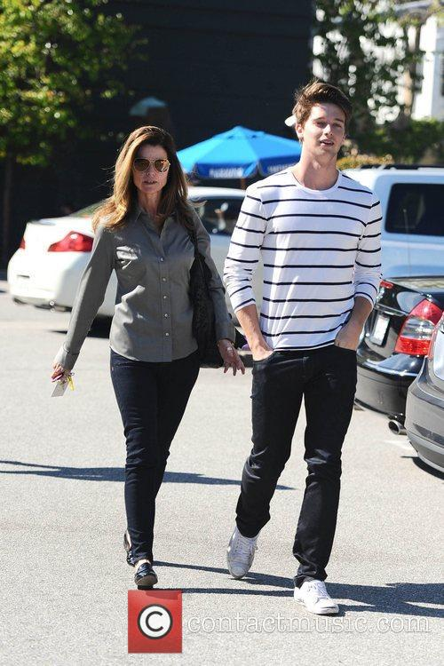 Maria Shriver and son Patrick Schwarzenegger are seen...
