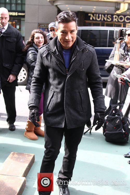 Mario Lopez filming promos for the entertainment television...