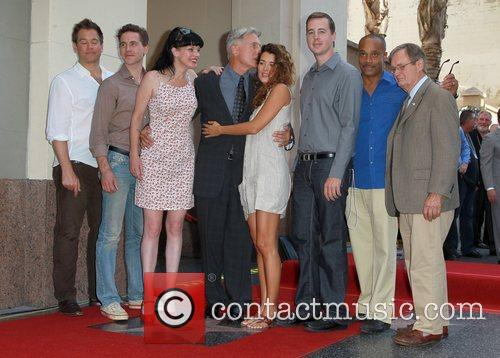 Michael Weatherly, Brian Dietzen, Pauley Perrette, Mark Harmon, Cote, Pablo, Sean Murray, Rocky Caroll, David Mccallum and Star On The Hollywood Walk Of Fame 1