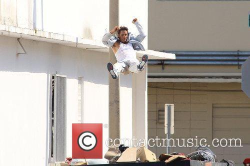 Mark Wahlberg stunt double films a chase scene...