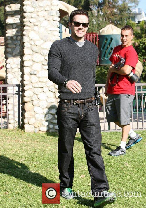 Mark Wahlberg enjoys a family day at the...