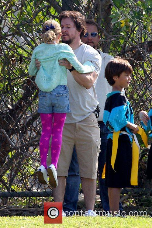 Mark Wahlberg at a park in Brentwood with...