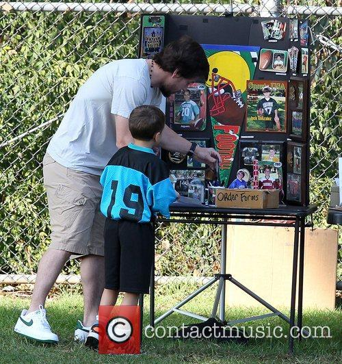 Mark Wahlberg and his son Michael order soccer...