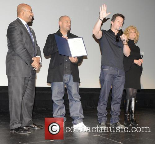 Philadelphia Mayor Michael Nutter, L, C, Film, Allen Hughes and Mark Wahlberg 4
