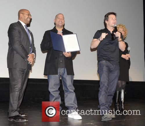Philadelphia Mayor Michael Nutter, L, C, Film, Allen Hughes and Mark Wahlberg 3