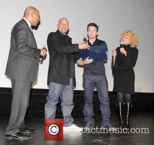 Philadelphia Mayor Michael Nutter, L, C, Film, Allen Hughes and Mark Wahlberg 1