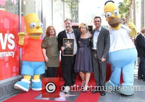 Nancy Cartwright, Hank Azaria, Matt Groening, Yeardley Smith and Star On The Hollywood Walk Of Fame 7