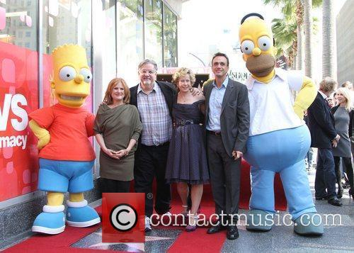 Nancy Cartwright, Hank Azaria, Matt Groening, Yeardley Smith and Star On The Hollywood Walk Of Fame 8