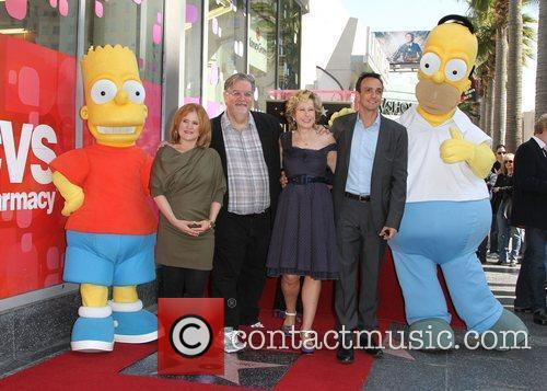Nancy Cartwright, Hank Azaria, Matt Groening, Yeardley Smith and Star On The Hollywood Walk Of Fame 1