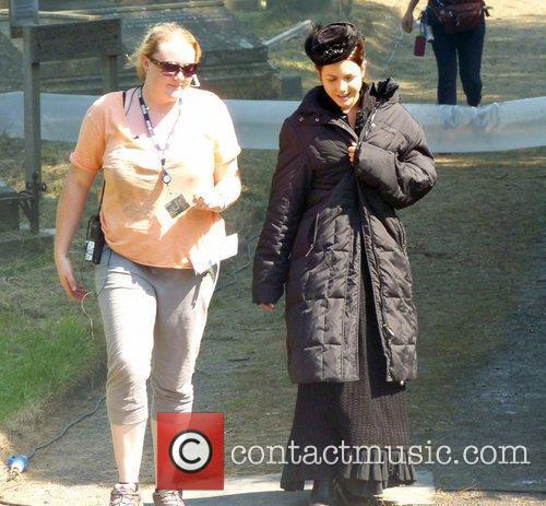 Catrin Stewart filming a Doctor Who Christmas special...