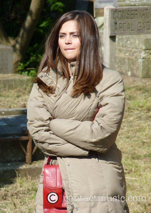 Jenna Louise Coleman filming a Doctor Who Christmas...