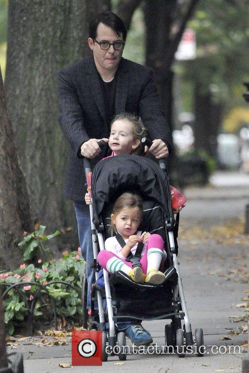 Matthew Broderick seen walking his daughters Tabitha and...