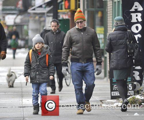 Matthew Broderick walks his son to school the...