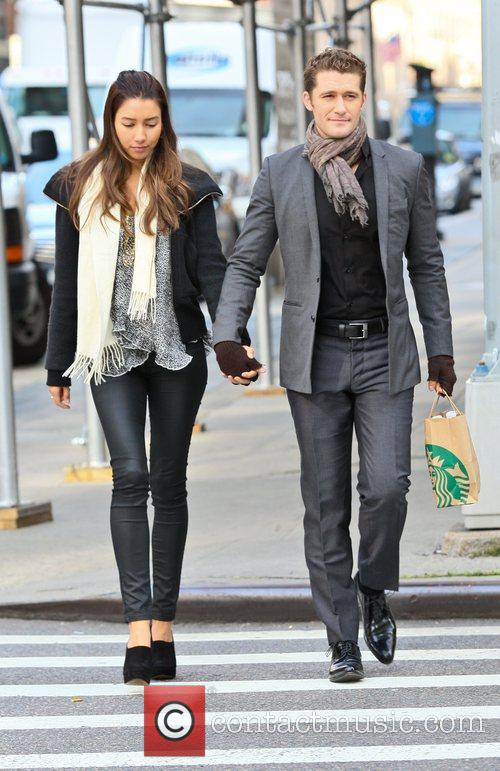 Matthew Morrison of Glee walking with his girlfriend...