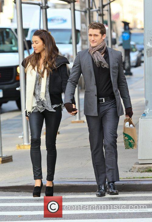 Matthew Morrison walking with his girlfriend after getting...