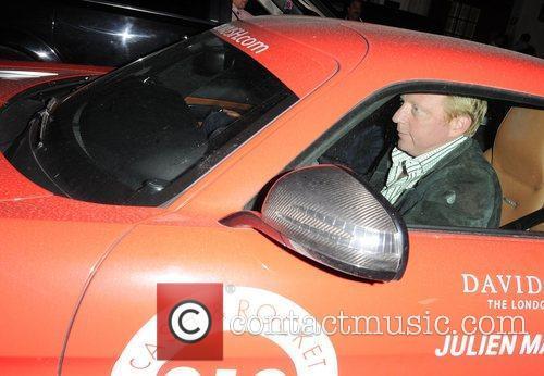 Boris Becker in his Cash & Rocket Mercedes-Benz...