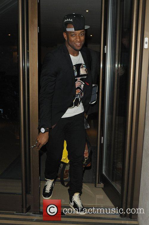 Oritse Williams leaving May Fair hotel London, England