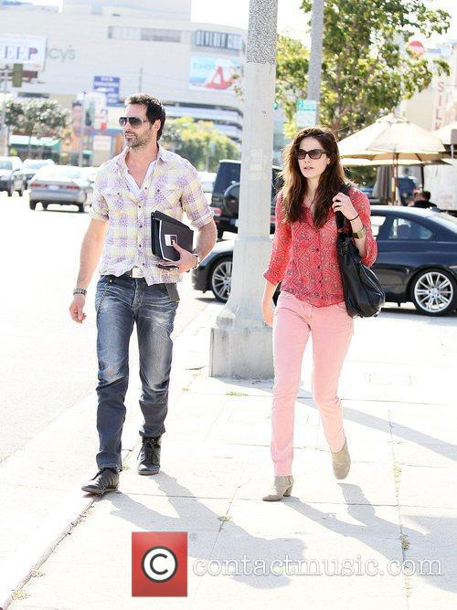 Michelle Monaghan and her husband Peter White leaving...