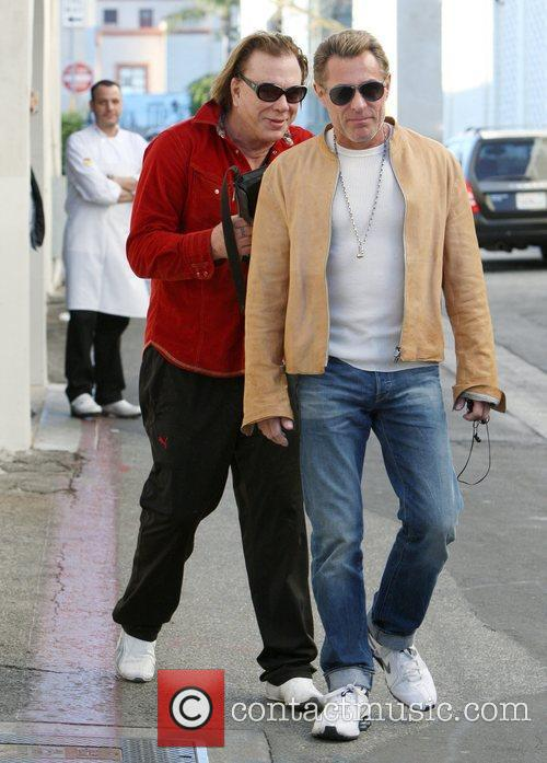 Mickey Rourke exits Cafe Roma in Beverly Hills...