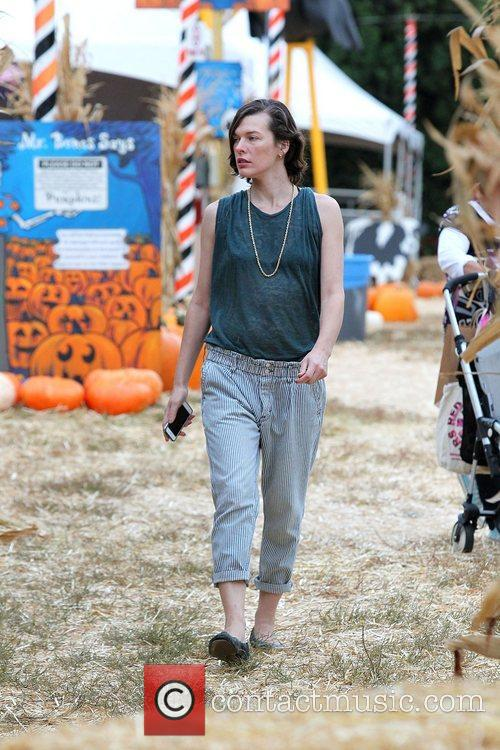 Milla Jovovich and Mr. Bones Pumpkin Patch 40