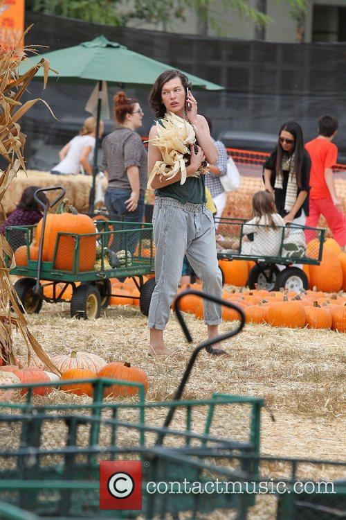 Milla Jovovich and Mr. Bones Pumpkin Patch 42
