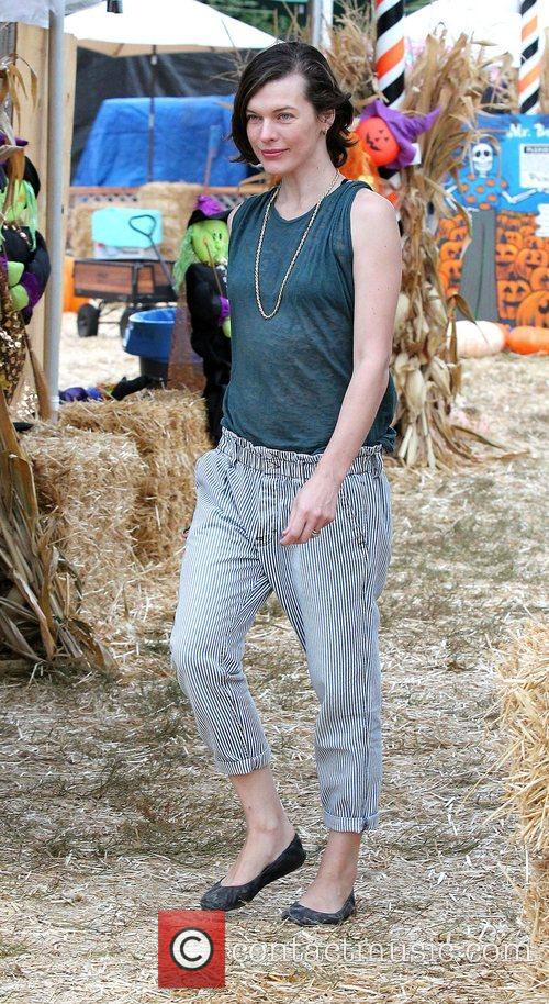 Milla Jovovich and Mr. Bones Pumpkin Patch 38
