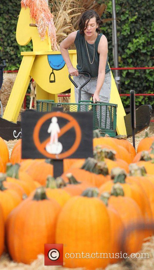 Milla Jovovich and Mr. Bones Pumpkin Patch 41