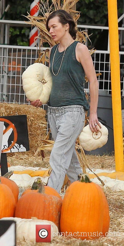 Milla Jovovich and Mr. Bones Pumpkin Patch 48