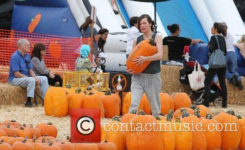 Milla Jovovich and Mr. Bones Pumpkin Patch 37