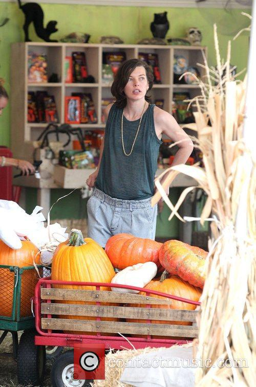 Milla Jovovich and Mr. Bones Pumpkin Patch 34