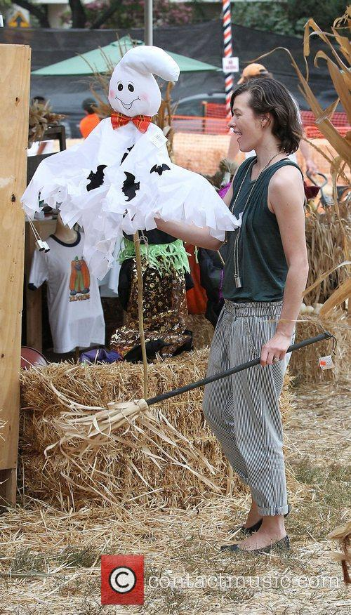 Milla Jovovich and Mr. Bones Pumpkin Patch 39