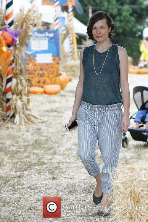 Milla Jovovich and Mr. Bones Pumpkin Patch 13