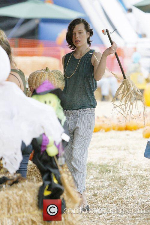 Milla Jovovich and Mr. Bones Pumpkin Patch 11