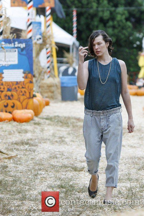 Milla Jovovich and Mr. Bones Pumpkin Patch 10