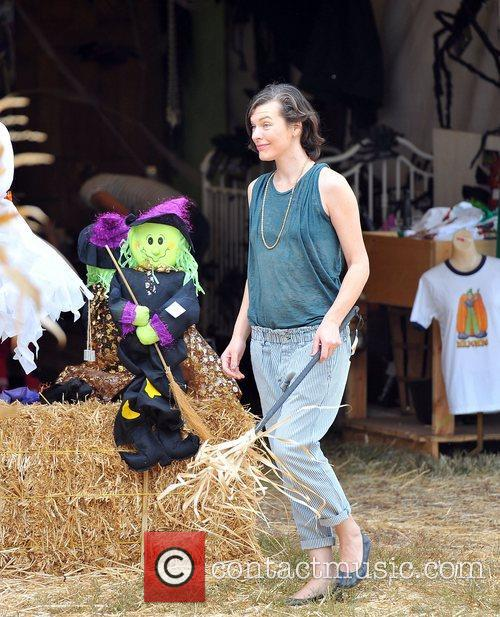 Milla Jovovich and Mr. Bones Pumpkin Patch 22