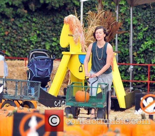 Milla Jovovich and Mr. Bones Pumpkin Patch 15