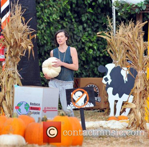 Milla Jovovich and Mr. Bones Pumpkin Patch 23