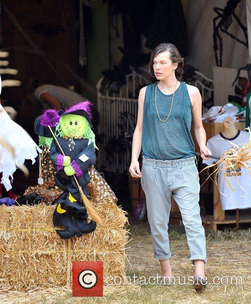 Milla Jovovich and Mr. Bones Pumpkin Patch 17