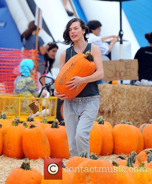 Milla Jovovich and Mr. Bones Pumpkin Patch 19