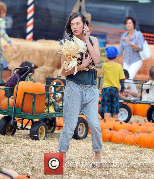 Milla Jovovich and Mr. Bones Pumpkin Patch 25