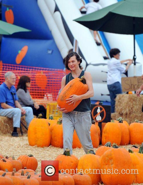 Milla Jovovich and Mr. Bones Pumpkin Patch 14