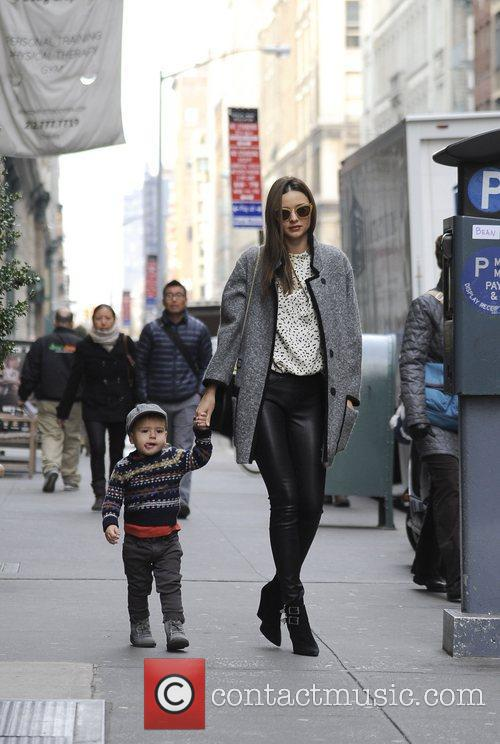 Out and about with her son, Flynn