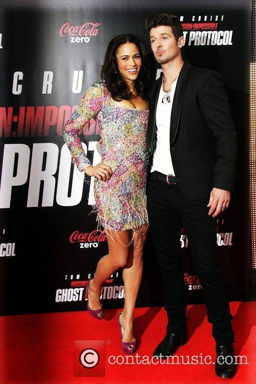 Paula Patton, Robin Thicke and Ziegfeld Theatre
