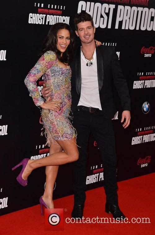 Paula Patton, Robin Thicke and Ziegfeld Theatre 7