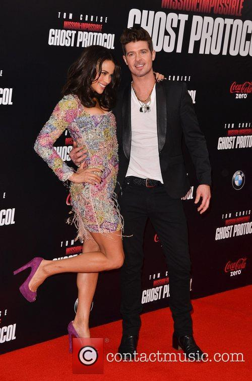 Paula Patton, Robin Thicke and Ziegfeld Theatre 4