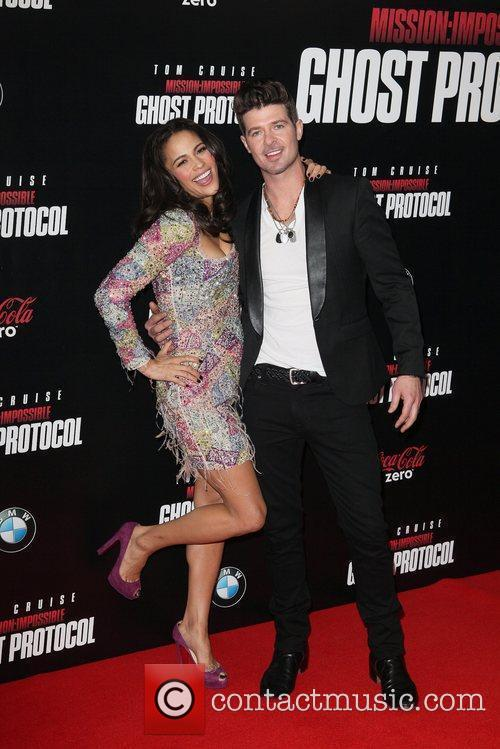 Paula Patton, Robin Thicke and Ziegfeld Theatre 9