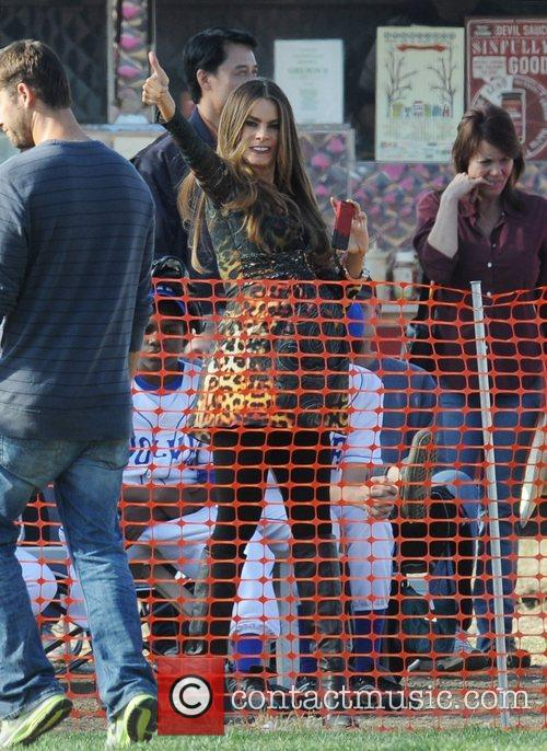 Sofia Vergara Filming a scene from Morden Family...