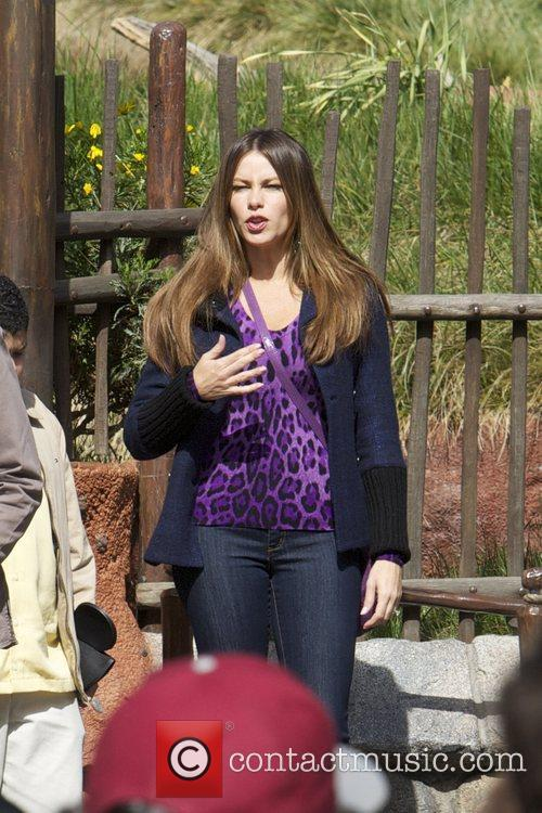 The cast of 'Modern Family' filming on location...