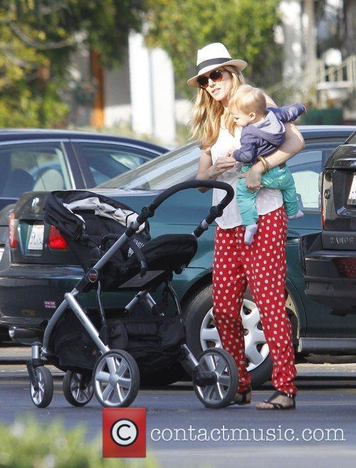Monet Mazur and son Luciano taking a stroll...